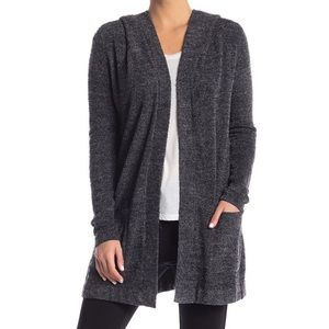Barefoot dreams gray hooded cardigan sweater sz sm